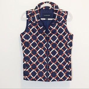 Lands' End Navy Patterned Down Puffer Vest XS